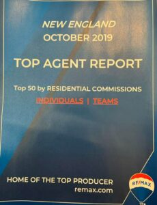 Photograph of New England October 2019 Top Agent Report
