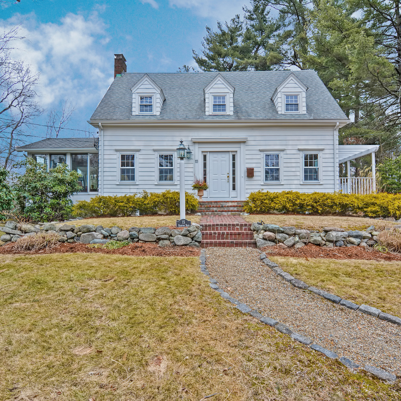 Front exterior photograph of 15 Hampton Road in Westwood MA