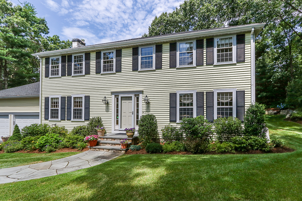 Front Exterior Photograph of 64 Blueberry Lane, Westwood MA