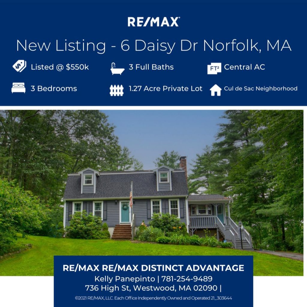 Photograph of marketing flier for 6 Daisy Drive in Norfolk MA